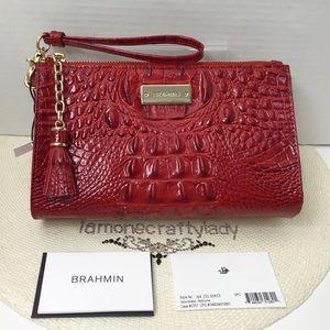 Brahmin Millie Wristlet Makeup Bag SCARLET New